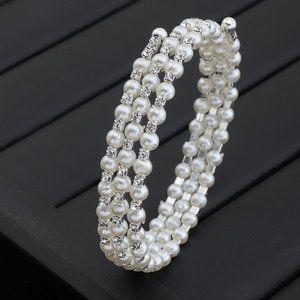 3/$20 New Pearl & Silver Rhinestone Wrap Bracelet